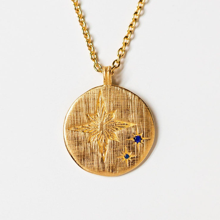 celestial star engraved yellow gold necklace pendant sapphire stones