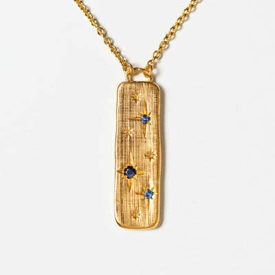 sapphire star engraved yellow gold necklace pendant