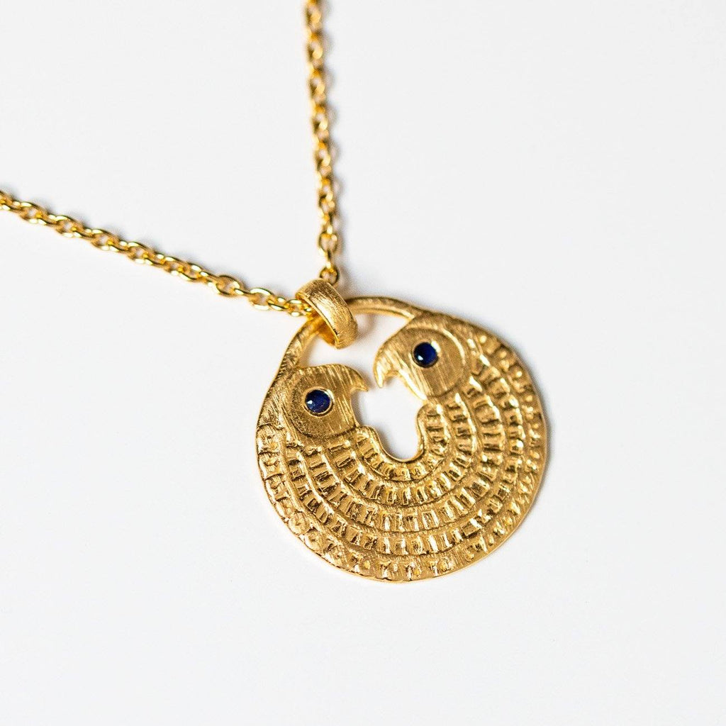 falcon necklace with sapphire stones in gold unique yellow gold pendant necklace