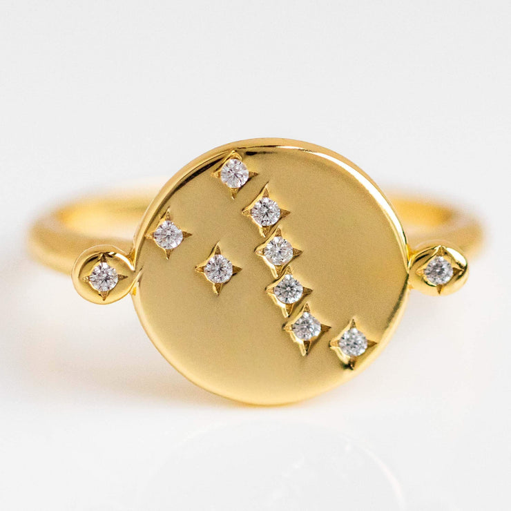zodiac inspired yellow gold coin ring cz constellation jewelry