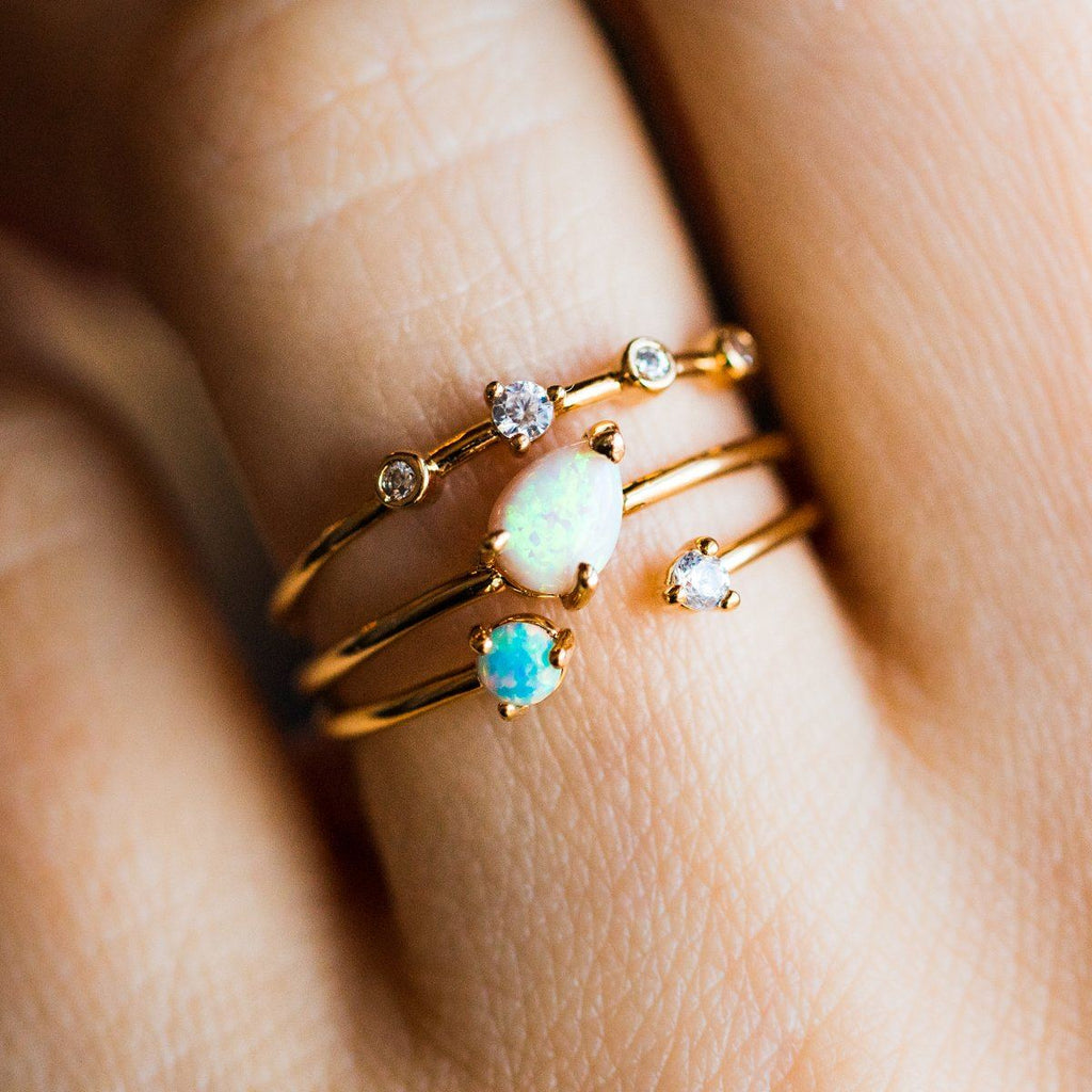 Double Opal Stacking Ring Set - rings - Tai Jewelry local eclectic