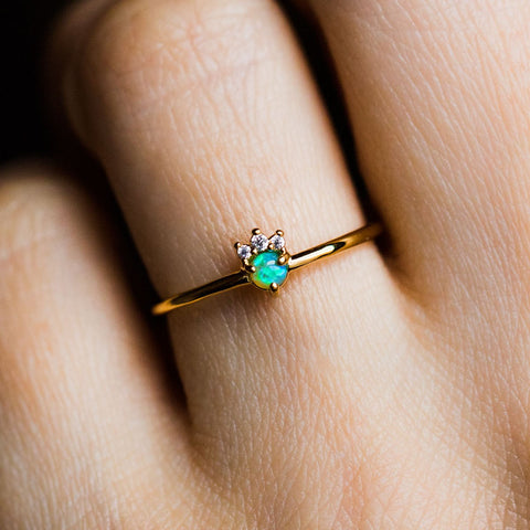 Mini Opal & Diamond Crush Ring - rings - Tai Jewelry local eclectic