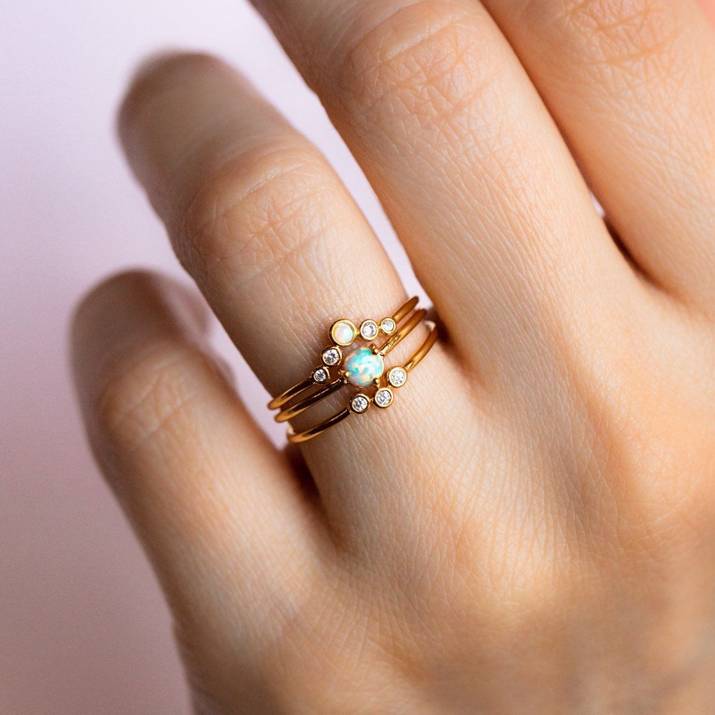 Opal & Arched Stacking Ring Set