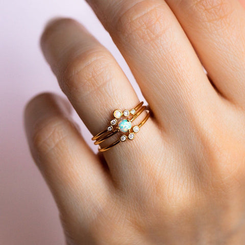 opal stacking ring set, cute stacking rings, tai jewelry