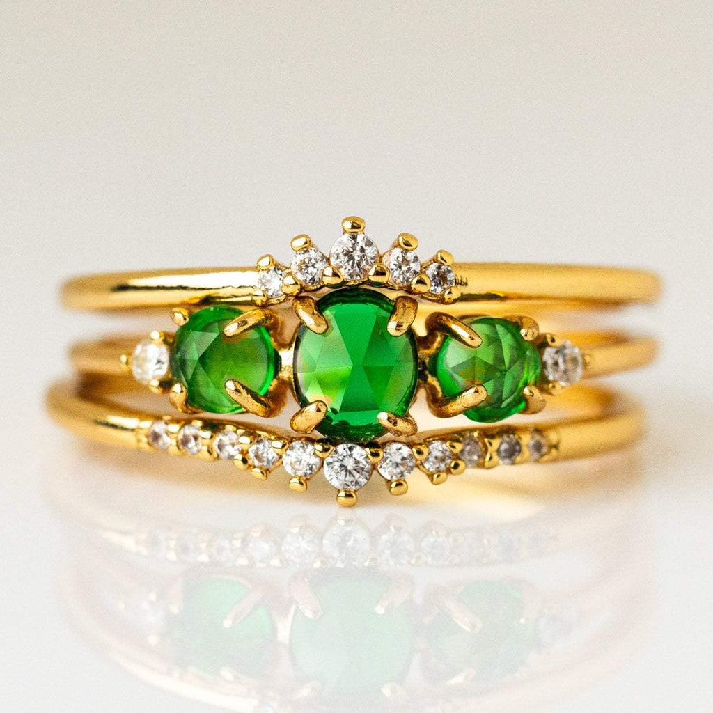 Ombre Birthstone Jewelry Personalized Stacking Ring Set Yellow Gold CZ