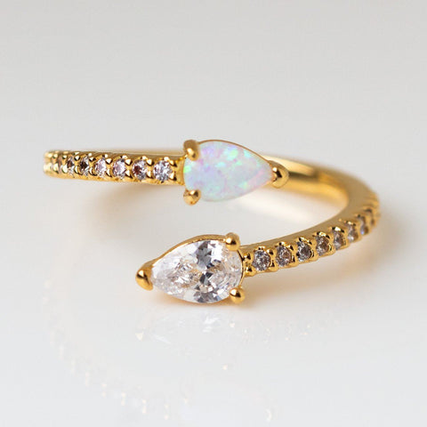 Perfect Pear Opal and CZ Wrap Ring