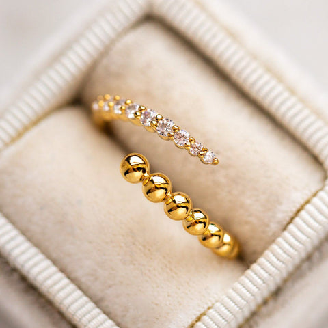 Belle of the Ball CZ Wrap Ring yellow gold modern dainty jewelry
