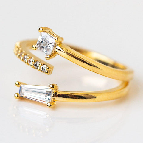 Full Glam CZ Wrap Ring statement modern yellow gold jewelry