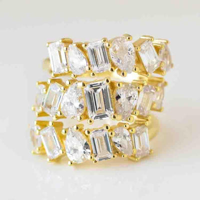 Black Tie CZ Trio Statement Ring unique stacked baguette cz yellow gold jewelry\