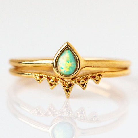 Teardrop Opal Stacking Ring Set