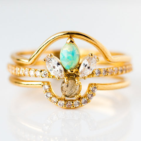 Opal Flower Burst Triple Stacking Ring Set - rings - Tai Jewelry local eclectic