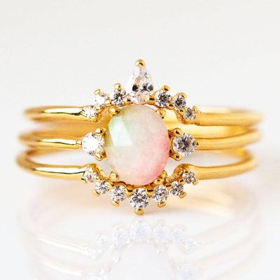 14K Gold Plated Tai Jewelry Watermelon Stone Stacking Ring Set
