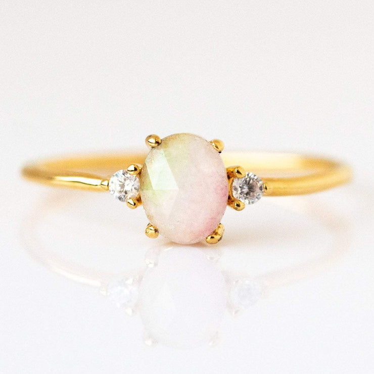 14K Gold Plated Watermelon Tourmaline Stone Stacking Ring