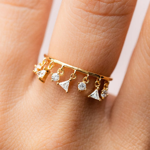 Funky Unique Dangle Charm Yellow Gold CZ Driplet Ring - rings - Tai Jewelry local eclectic