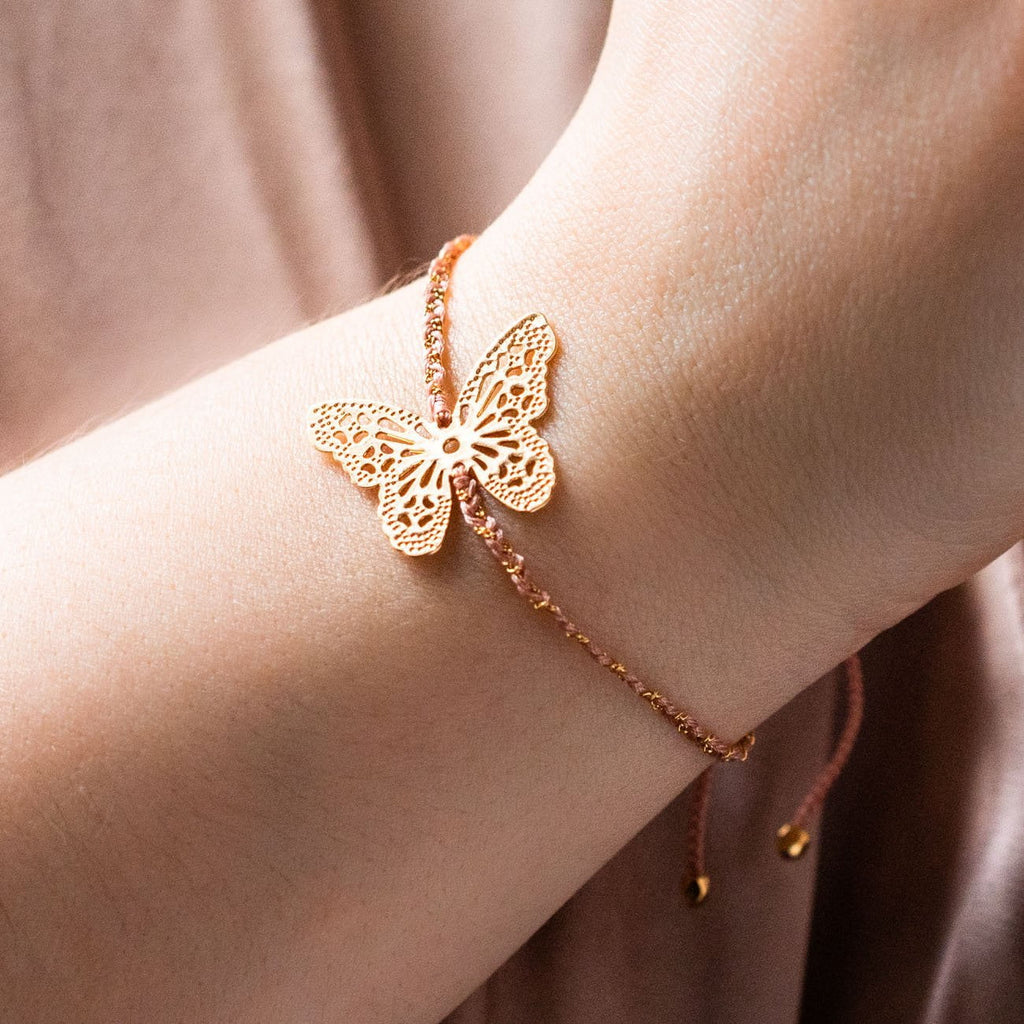 butterfly handmade bracelet unique yellow gold jewelry