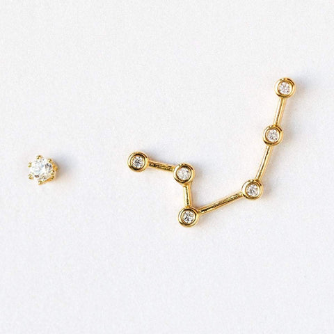 Aquarius constellation stud earrings, personalized gift for her