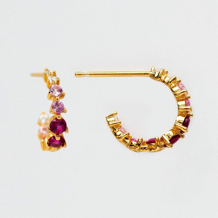 Ombre Birthstone Personalized Dainty Earring Hoop Crystal Gemstone July