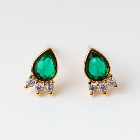 Emerald Teardrop Sparkle Trio Studs