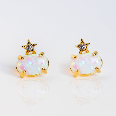 you're a star opal stud earrings celestial cz star dainty jewelry