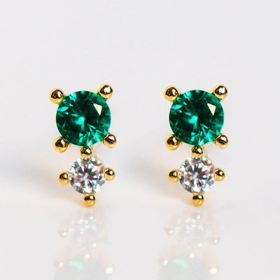 dainty doublet emerald stud earrings yellow gold studs
