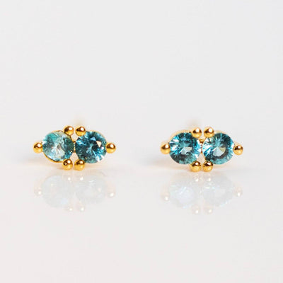 summer vibes double aquamarine studs unique blue dainty stud earrings