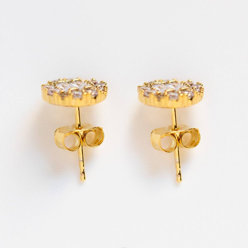 geometric glam cz stud statment earrings unique yellow gold jewelry