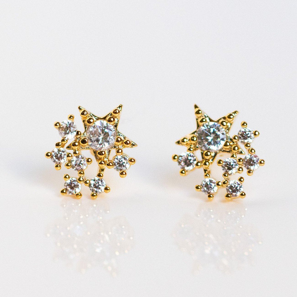 stardust cz cluster studs unique celestial yellow gold stud earrings
