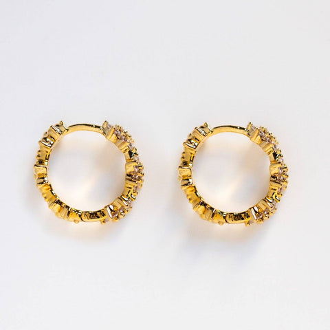 floral infinity huggie hoop earrings unique flower yellow gold statement huggies