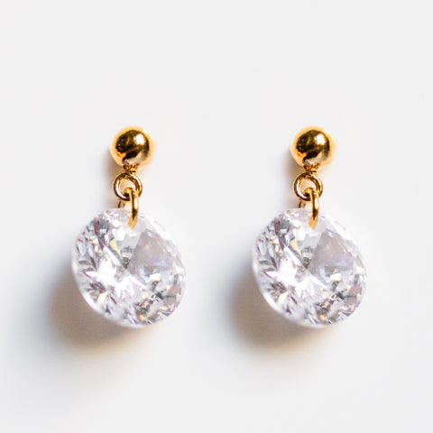 shine on cz drop earrings modern timeless yellow gold jewelry