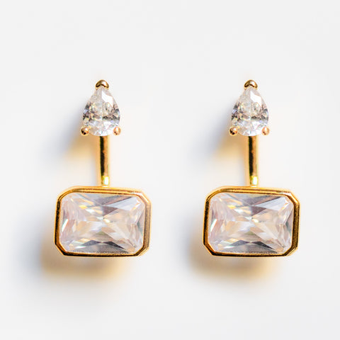 linear luxury cz dangle earring jackets unique statement stud earrings