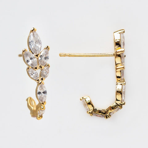 crown of laurel cz studs unique dainty yellow gold jewelry