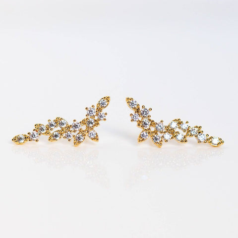 romantic cluster climber earrings dainty yellow gold cz jewelry