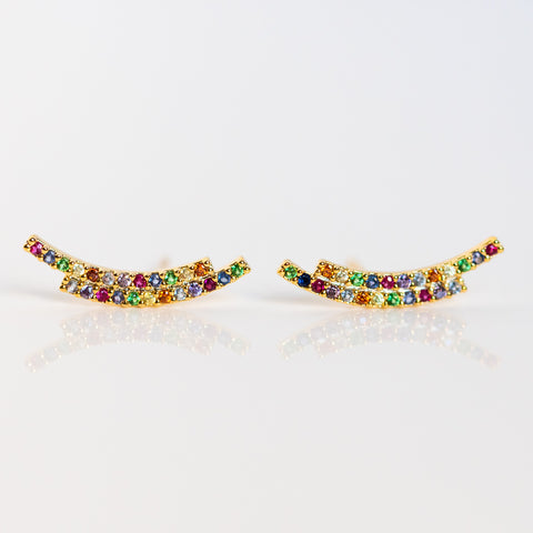 rainbow climber earrings statement studs yellow gold jewelry