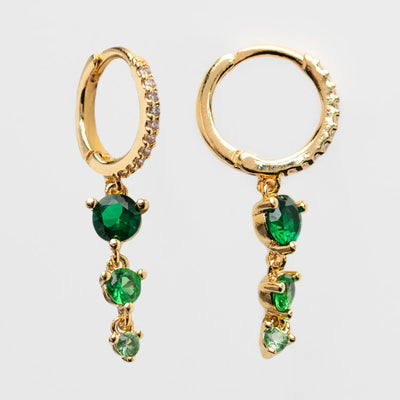 Elegant Emerald CZ Dangling Huggie Hoops yellow gold dainty modern jewelry