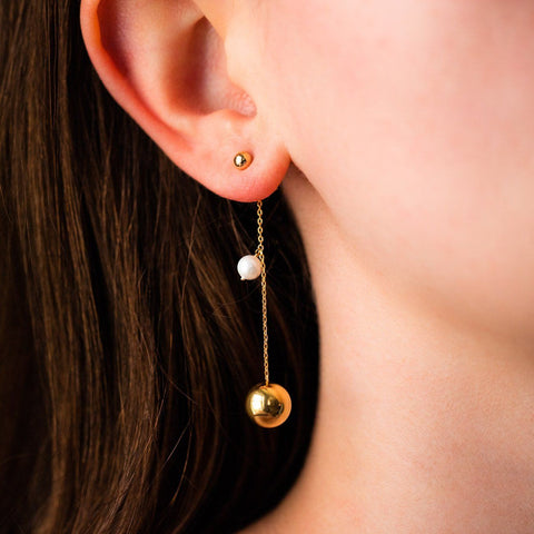 good as gold pearl dangle earrings unique modern yellow gold dainty jewelry