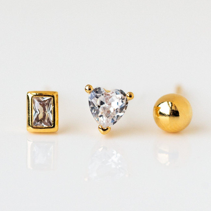 Tiny Treasures Stud Earring Set modern dainty yellow gold jewelry