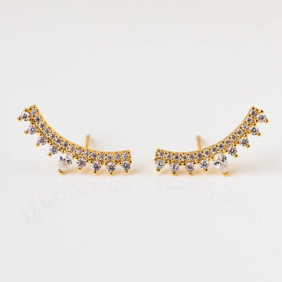 Crown Me Ear Climbers yellow gold dainty modern jewelry