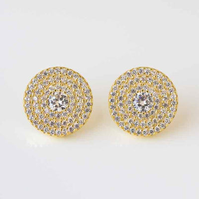 Glamorous CZ Disc Stud Earrings yellow gold statement studs unique jewelry