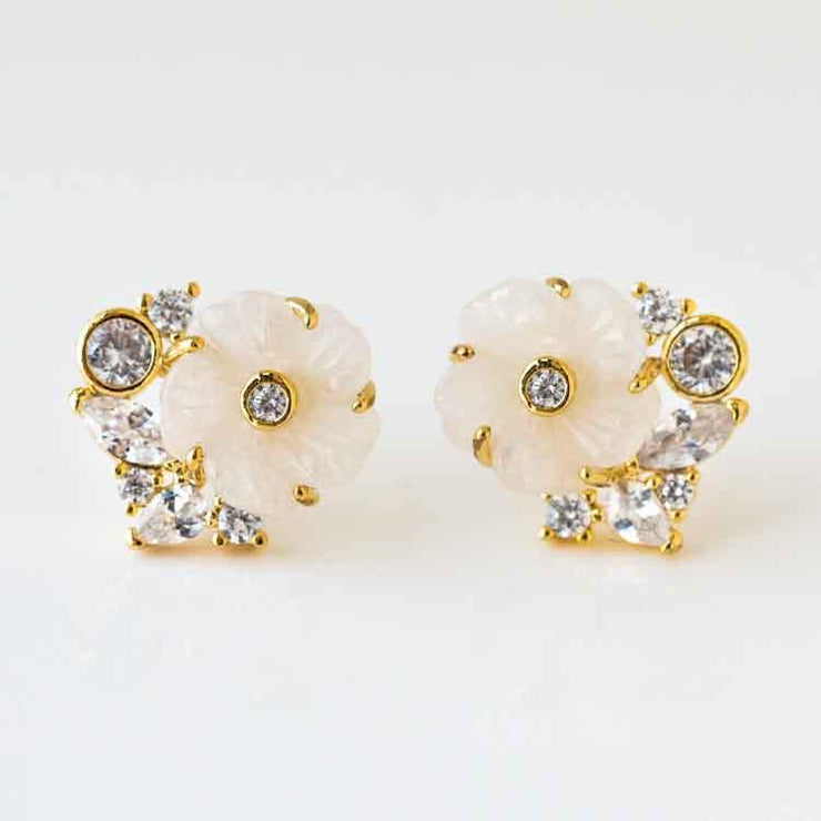 Mother of Pearl Flower CZ Cluster Stud Earrings unique yellow gold statement floral earrings