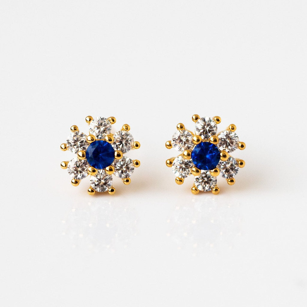 Sapphire Flower Crush Earrings