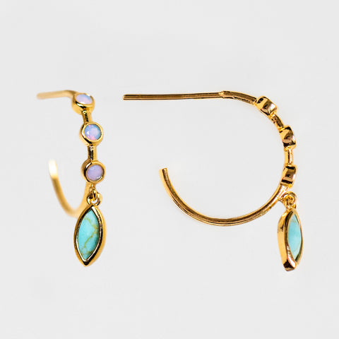 opal three stone dangle hoop huggie earrings turquoise unique yellow gold jewelry