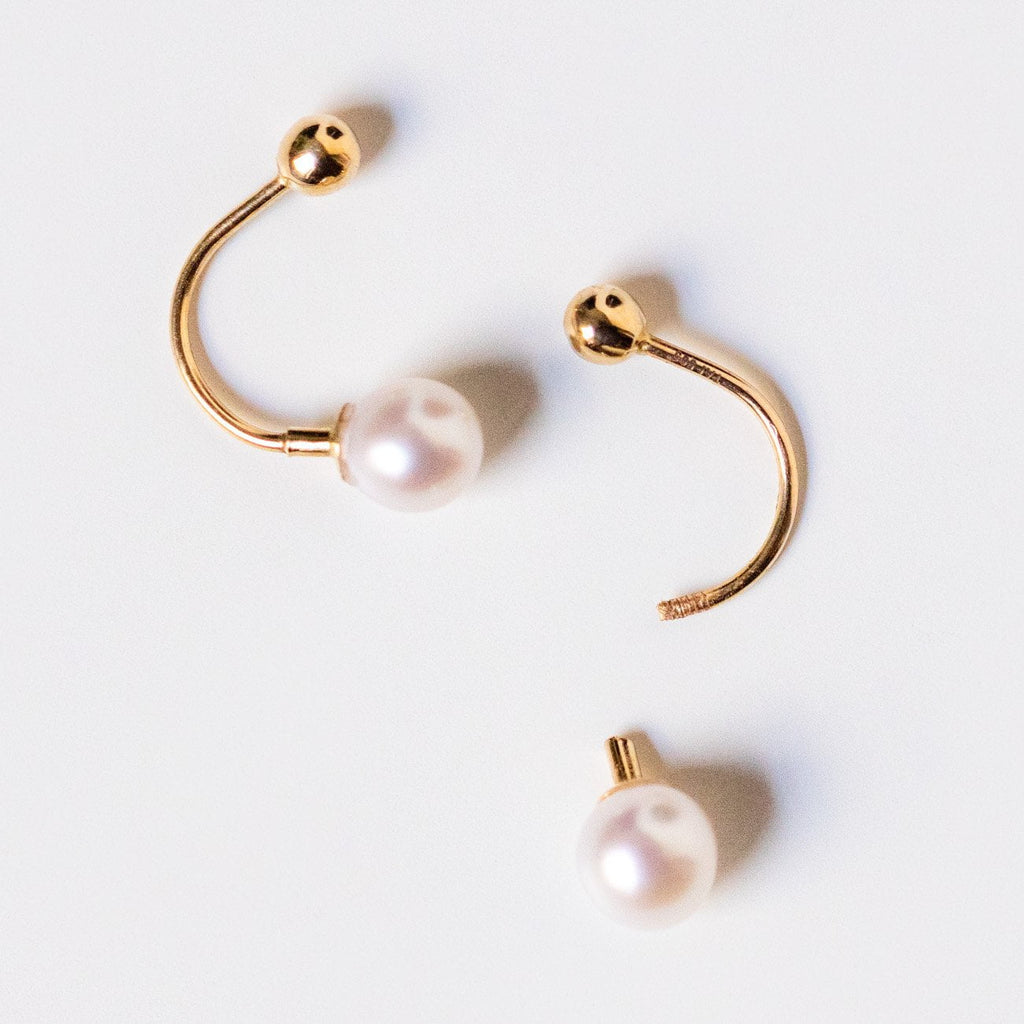 14k yellow gold earring jacket with pearl unique dainty fine jewelry