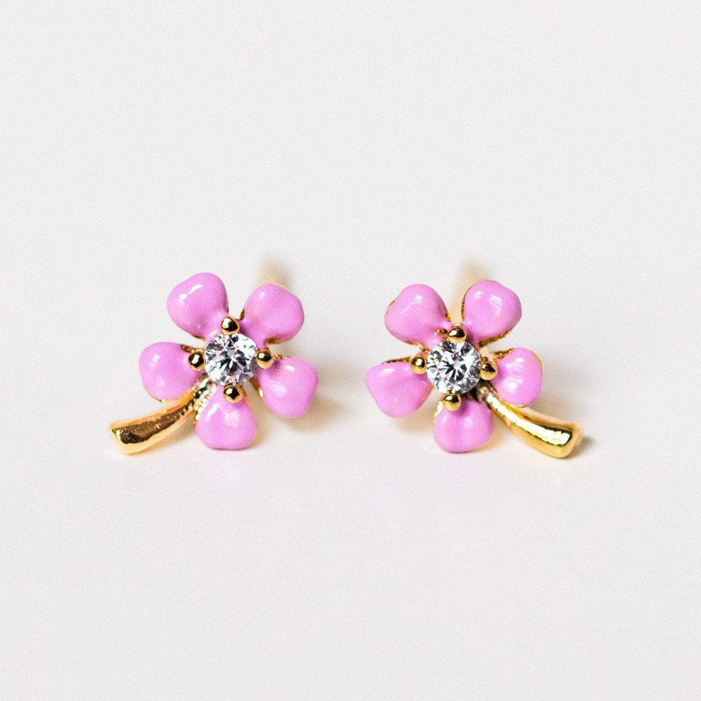 pink enamel flower stud earrings cz unique dainty floral jewelry