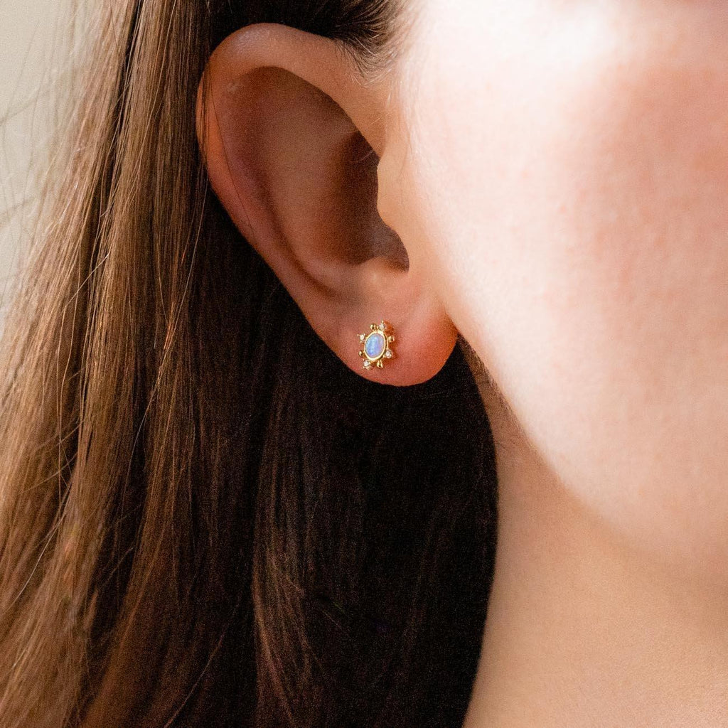 opal circle cz cluster stud earrings yellow gold unique dainty jewelry