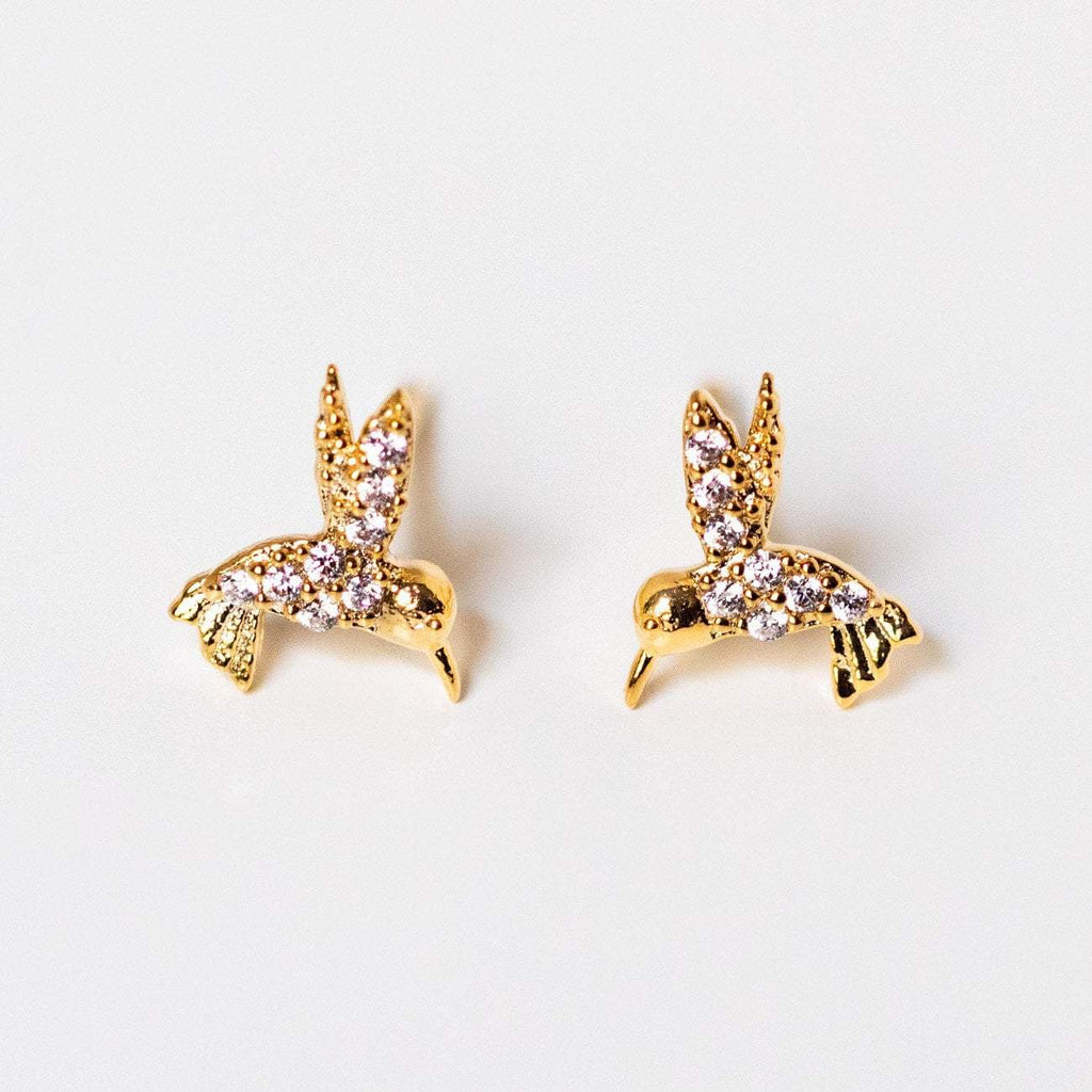cz hummingbird stud earrings unique yellow gold dainty jewelry