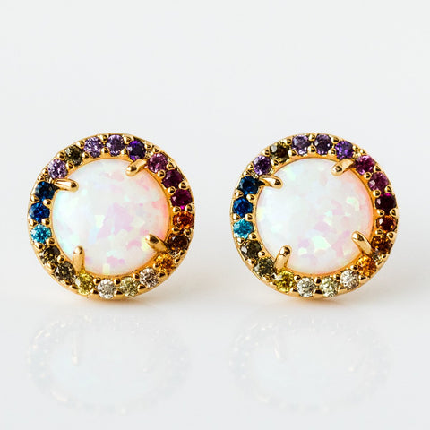 Rainbow Small Circle Earrings with Opal - earrings - Tai Jewelry local eclectic