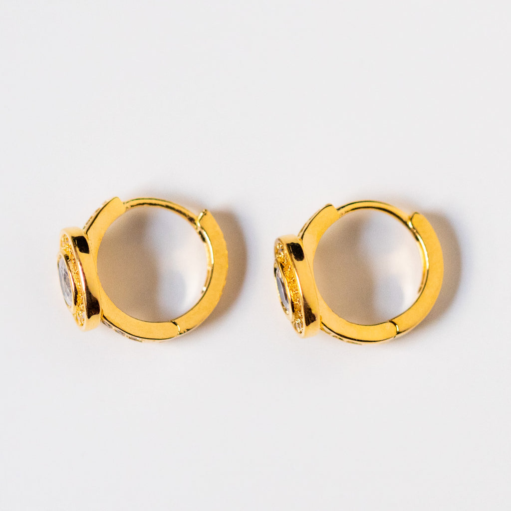 double circle cz huggie earring hoops modern vintage inspired jewelry