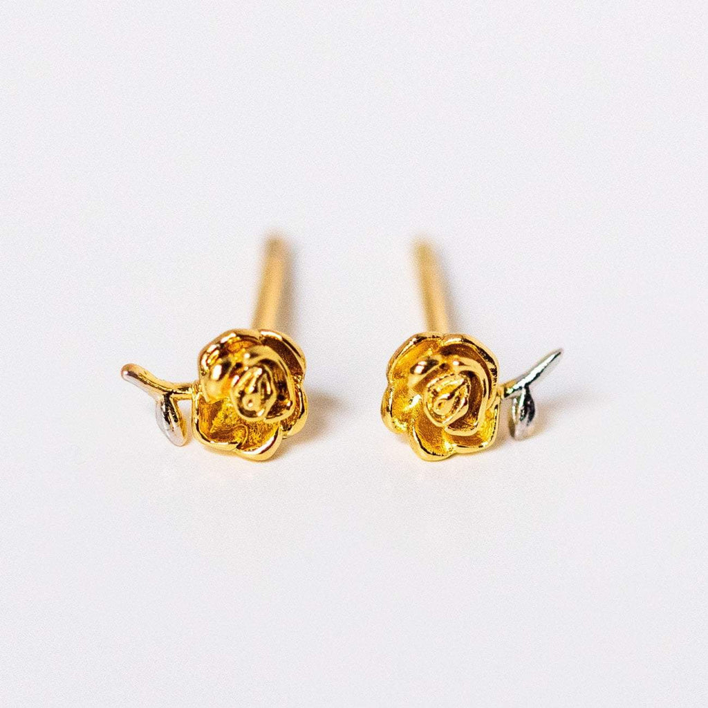 two tone rose studs mixed metal dainty jewelry