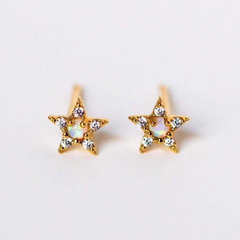 dainty star stud earrings opal cz unique celestial yellow gold earrings