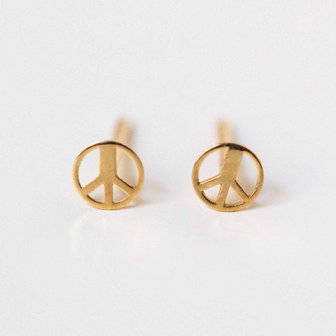 solid yellow gold 14k peace sign stud earrings